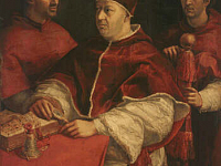 Pope Leo X with Cardinals Giulio de\' Medici and Luigi de\' Rossi