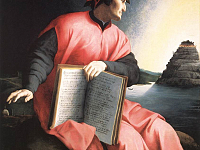 Dante\'s allegorical portrait by Agnolo Bronzino now at the Uffizi Gallery