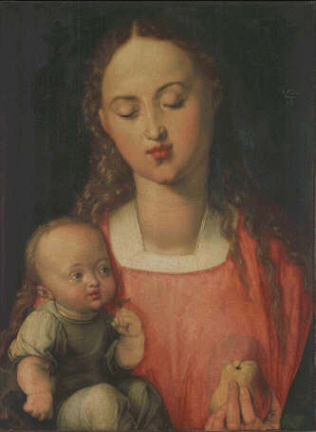 Madonna and child whit a Pear - Albrecht Dürer (Oil on wood, 43x31)