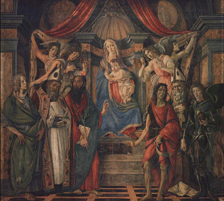 San Barnaba Altarpiece - Sandro Filipepi called Botticelli (Tempera on wood, 168x280)