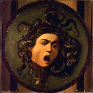 Medusa - Michelangelo Merisi called Caravaggio (Oil on wood covered with canvas, diam.55)