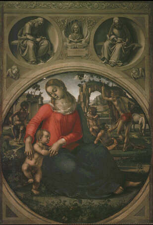Madonna and Child with Allegorical Figures - Agnolo Bronzino (Tempera on wood, 170x117.5)