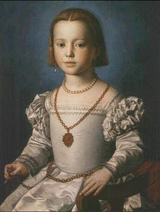 Bia, illegittimate daughter of Cosimo I de' Medici - Agnolo Bronzino (Tempera on wood, 63x48)