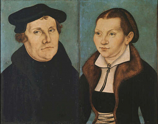 Martin Luther and and his wife - Lukas Cranach (Oil on wood, 36,5x23,37x23)