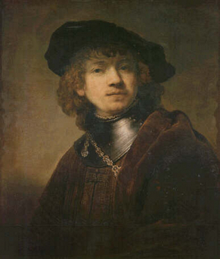 Self-portrait  as a Young Man - Rembrandt Harmenszoon van Rijn (Oil on wood, 62.5x54)