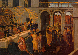 Abasuerus's Banquet - Jacopo da Sellaio (Tempera on wood, 45x63)