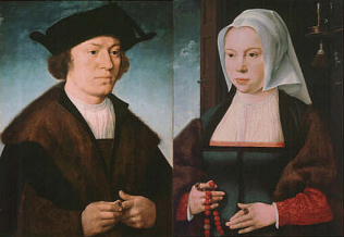 Portrait of a Man and his Wife - Joos van Clève (Oil on wood, 57x42)