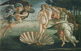 Birth of Venus - Sandro Filipepi called Botticelli (Tempera on canvas, 172.5x278.5)