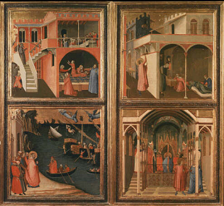 Four Stories from the Life of Saint Nicholas. - Ambrogio Lorenzetti (Tempera on wood, 96x35)