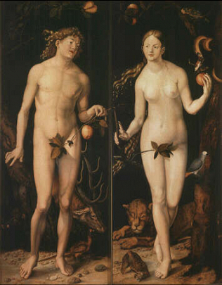 Adam and Eve - Hans Baldung Grien (Oil on wood, 212x85)