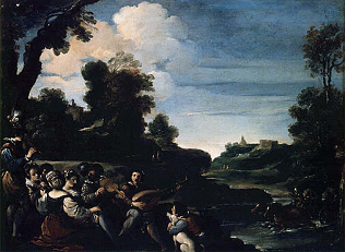 Summer Diversions - Giovan Francesco Barbieri called Guercino (Oil on copper, 34x46)