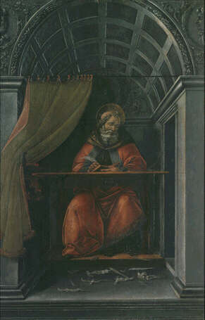 Saint Augustine in his Study - Sandro Filipepi called Botticelli (Tempera on wood, 41x27)