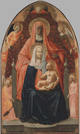 Madonna and Child with Saint Anne - Masolino and Masaccio (Tempera on wood, 175x103)