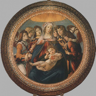 Madonna of the Pomegranate - Sandro Filipepi called Botticelli (Tempera on wood, diam. 143.5)
