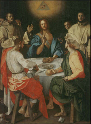 Supper at Emmans - Jacopo Pontormo (Oil on canvas, 230x173)