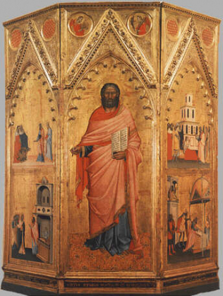 Saint Matthew and Stories from his Life - Andrea di Cione called Orcagna and Jacopo di Cione (Tempera on wood, 291x265)
