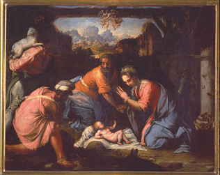 Nativity - Francesco de' Rossi called Cecchino Salviati (Oil on wood, 85x108)