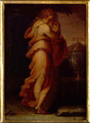 Artemisia Mourning Mausolus - Francesco de' Rossi called Cecchino Salviati (Oil on wood, 35x24.5)