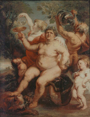 Bacchus astride a Barrel - Peter Paul Rubens (Oil on canvas, 152x118)