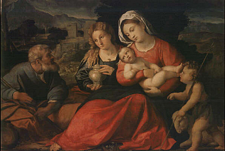 Holy Family with the Young Saint Jhon and Mary Magdalen - Jacopo Negretti called Palma il Vecchio (Oil on wood, 108x92)