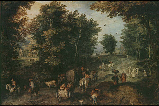 Landscape with a Ford - Jan Brueghel the Elder (Oil on copper, 24x35)