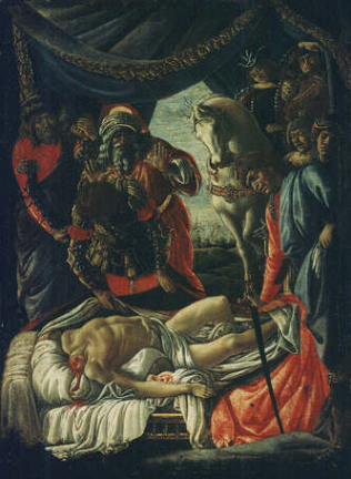 The Discovery of the Body of Holophernes - Sandro Filipepi called Botticelli (Tempera on wood, 31x25)
