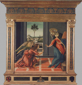 Annunciation - Sandro Filipepi called Botticelli (Tempera on wood, 150x156)