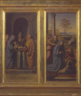 Nativity - Fra Bartolomeo (Tempera on wood, 19.5x9(Angel and Nativity))