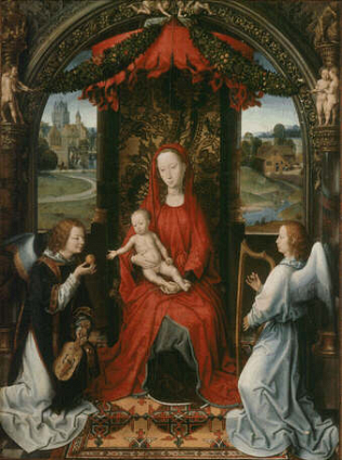 Madonna and Child with two Angels - Hans Memling (Oil on wood, 57x42)
