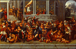 Slaughter of the Innocents - Ludovico Mazzolino (Oil on  wood, 49x59)
