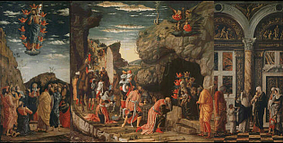 Epiphany, Circumcision and Ascensio - Andrea Mantegna (Temper on wood, 86x161.5 (overal, including frame))