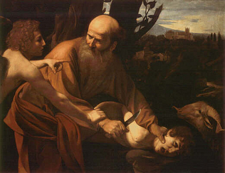 Sacrifice of Isaac - Caravaggio (Oil on canvas, 104x135)