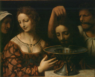 Herodias - Bernardino Luini (Tempera on wood, 51x58)