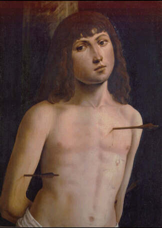Saint Sebastian - Lorenzo Costa (Tempera on wood, 55x49)