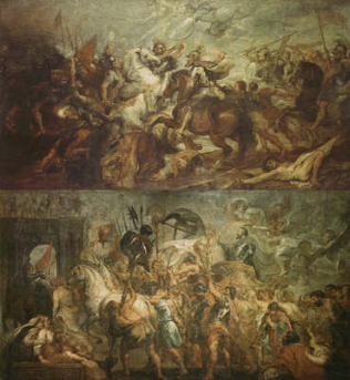 Henri IV at the Battle of Ivry - Peter Paul Rubens (Oil on canvas, 367x693)