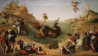 Perseus Frees Andromeda - Piero di Cosimo (Oil on wood, 70x123)