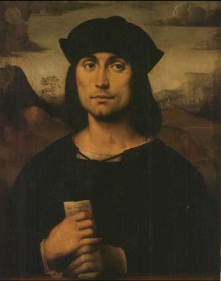 Portrait of Evangelista Scappi - Francesco Raibolini called Francia (Tempera on wood, 55x44)