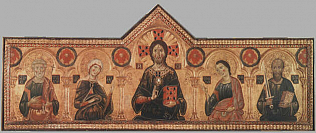 Christ the Redeemer and four Saints. - Meliore di Jacopo (Tempera on wood, 85x210)