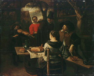 The Luncheon - Jan Steen (Oil on wood, 41x49.5)