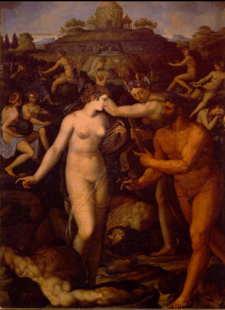 Hercules and the Muses - Alessandro Allori (Copper, 39x29)