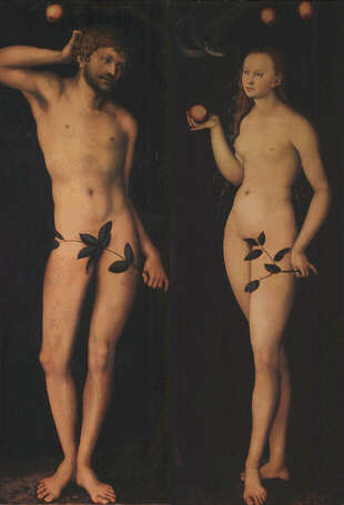 Adam and Eve - Lukas Cranach the Elder (Oilo on wood, 172x63)