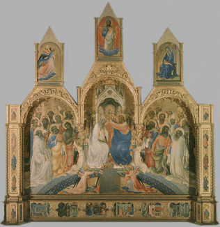Coronation of the Virgin - Lorenzo Monaco (Tempera on wood, 450x350)