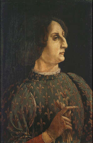 Portrait of Galeazzo Maria Sforza - Piero Benci called Pollaiolo (Tempera on wood, 65x42)