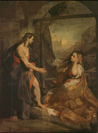 Christ and Mary Magdalen - Federico Barocci (Oil on canvas, 122x91)