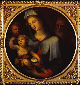 Holy Family with the young Saint Jhon - Domenico Giacomo di Pace called Beccafumi (Tempera on wood, diam. 84)