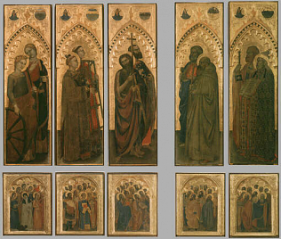 Ognissanti Polyptych - Giovanni da Milano (Tempera on wood, 132x39 each panel; 49x39 each scene)