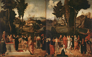 Moess Undergoes Trial by Fire - Giorgione (Oilo on wood, 89x72)