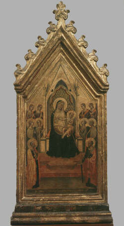 Madonna and Child Enthroned - Bernardo Daddi (Tempera on wood, 56x26)