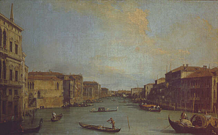 View of the Grand Canal - Canaletto (Oil on canvas, 45x73)