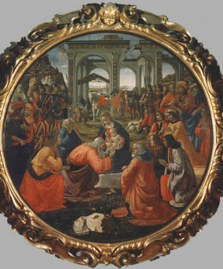 Adoration of the Magi - Domenico Bigordi called Ghirlandaio (Tempera on wood, diam. 172)
